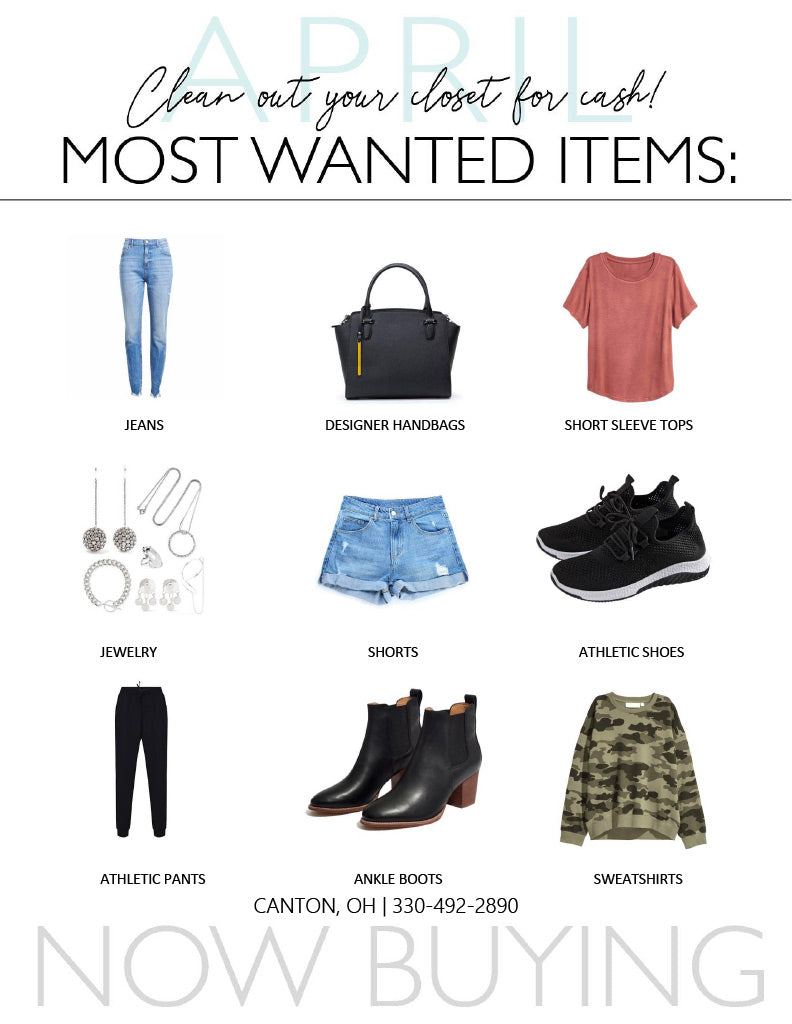Clothes Mentor April Most Wanted buying item s