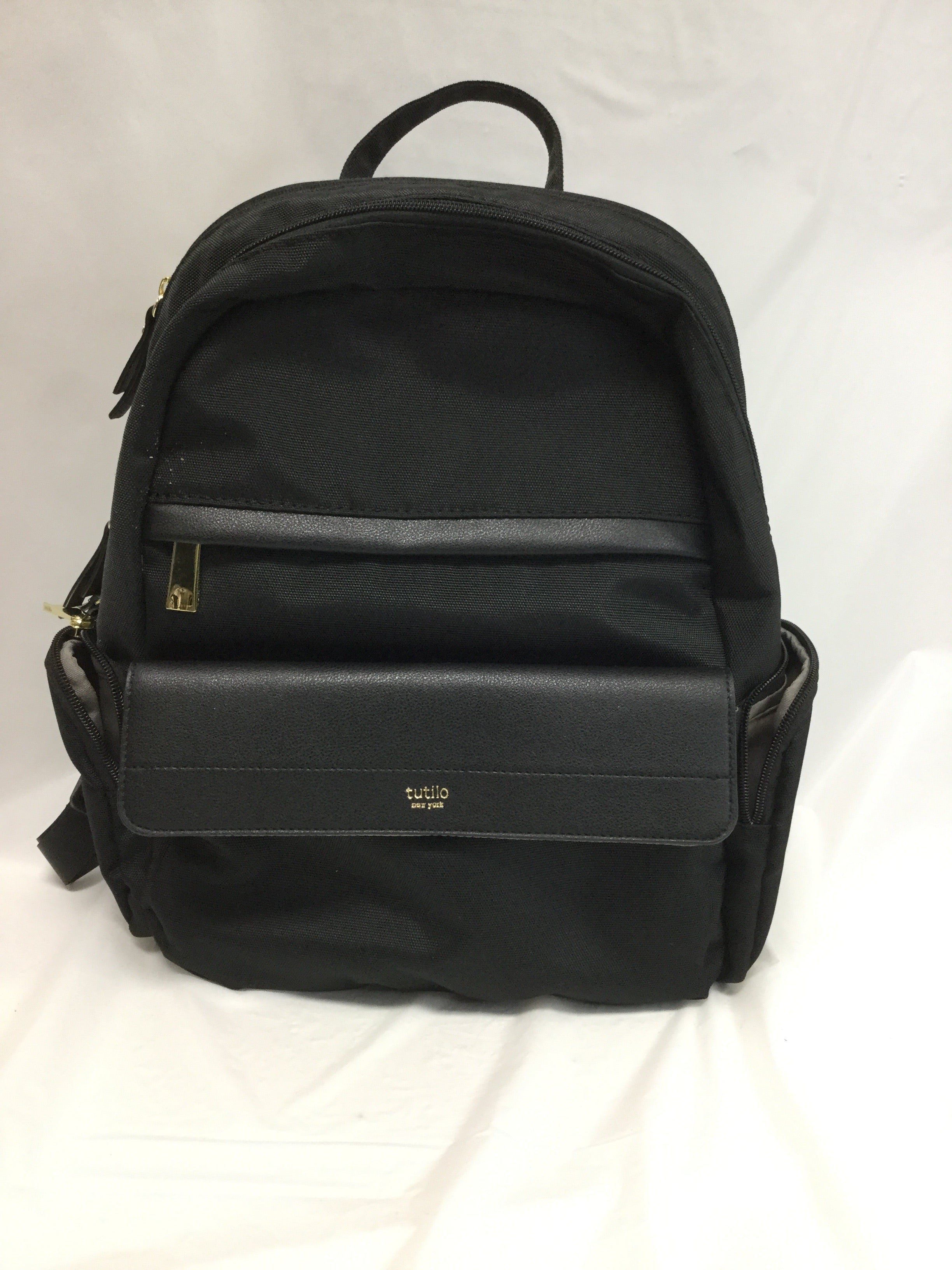 Primary Photo - BRAND:   CMC <BR>STYLE: BACKPACK <BR>COLOR: BLACK <BR>SIZE: MEDIUM <BR>OTHER INFO: TUTILO NEW YORK - <BR>SKU: 155-155227-116<BR>GOLD HARDWARE, APPROX. 14'X20'<BR>