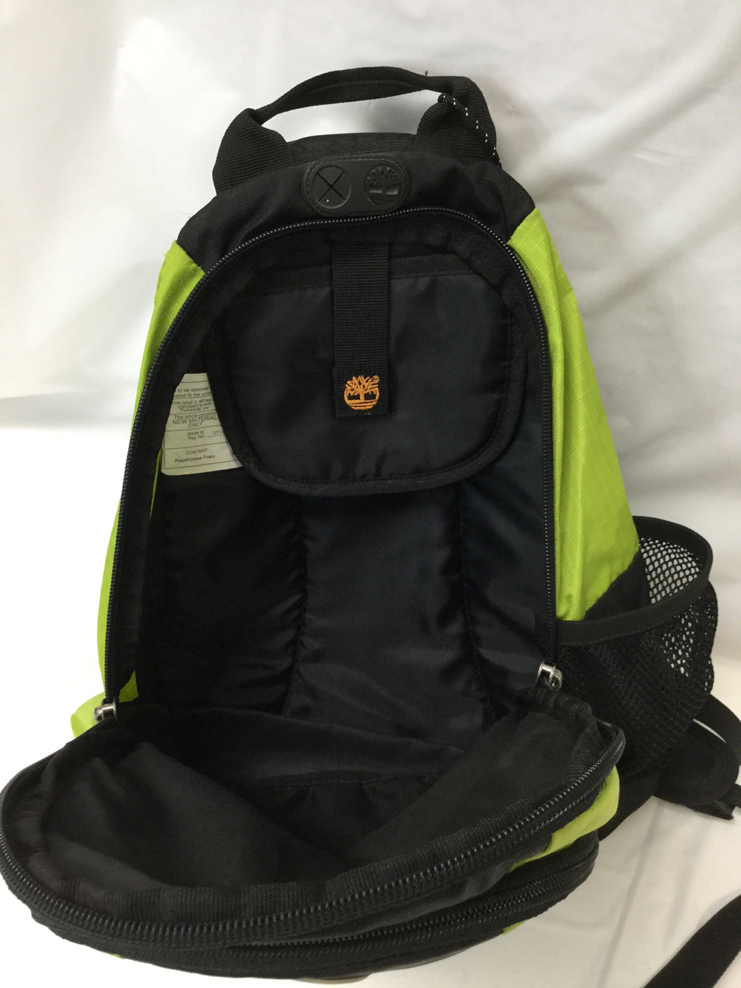Photo #3 - BRAND: TIMBERLAND <BR>STYLE: BACKPACK <BR>COLOR: GREEN <BR>SIZE: SMALL <BR>SKU: 155-155224-1406<BR>LIME GREEN NYLON/BLACK <BR>BODY APPROX.18'/ADJUSTABLE STRAP<BR>