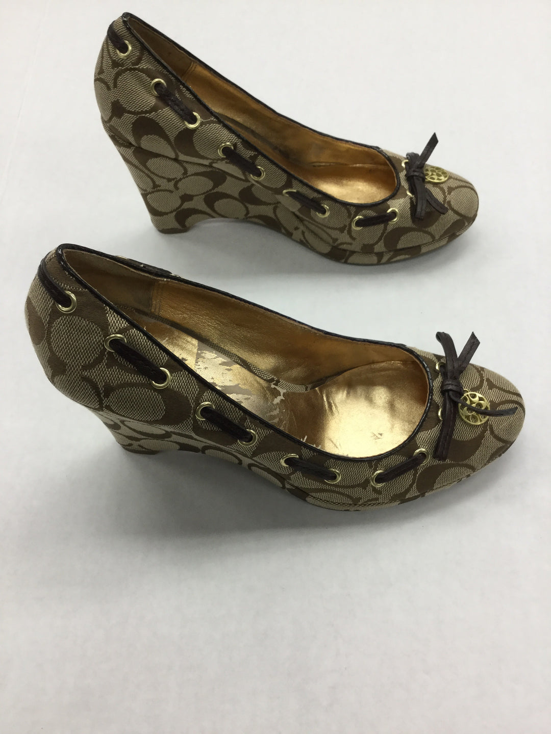 Photo #1 - BRAND: COACH <BR>STYLE: SHOES HIGH HEEL <BR>COLOR: BROWN <BR>SIZE: 7.5 <BR>OTHER INFO: NOTED: INSIDE HAS SOME WEAR <BR>SKU: 155-155224-13355