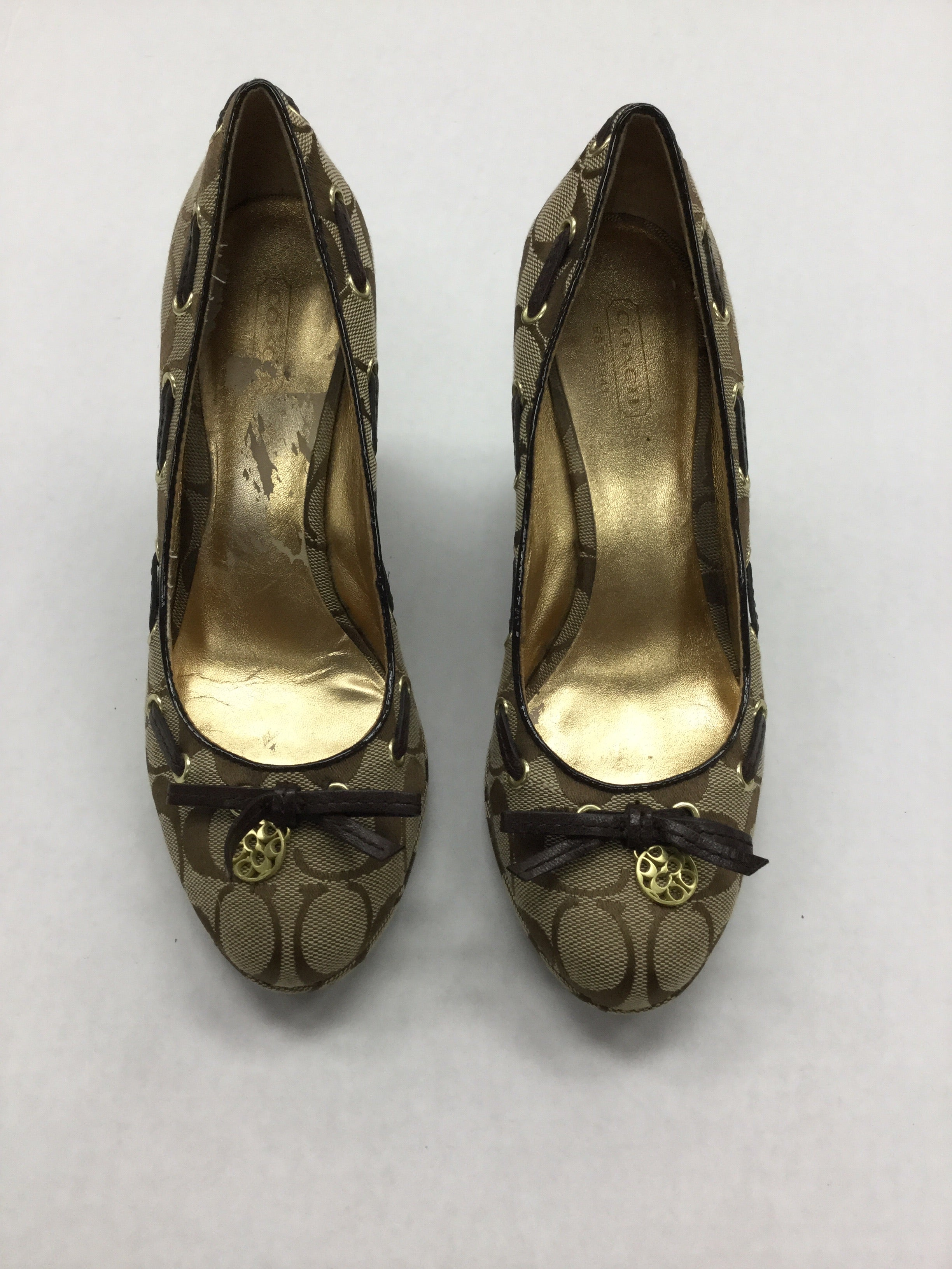Primary Photo - BRAND: COACH <BR>STYLE: SHOES HIGH HEEL <BR>COLOR: BROWN <BR>SIZE: 7.5 <BR>OTHER INFO: NOTED: INSIDE HAS SOME WEAR <BR>SKU: 155-155224-13355