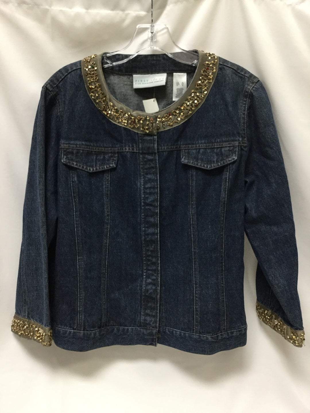 Primary Photo - BRAND: FIRST ISSUE <BR>STYLE: BLAZER JACKET <BR>COLOR: DENIM <BR>SIZE: XL <BR>SKU: 155-155224-13521