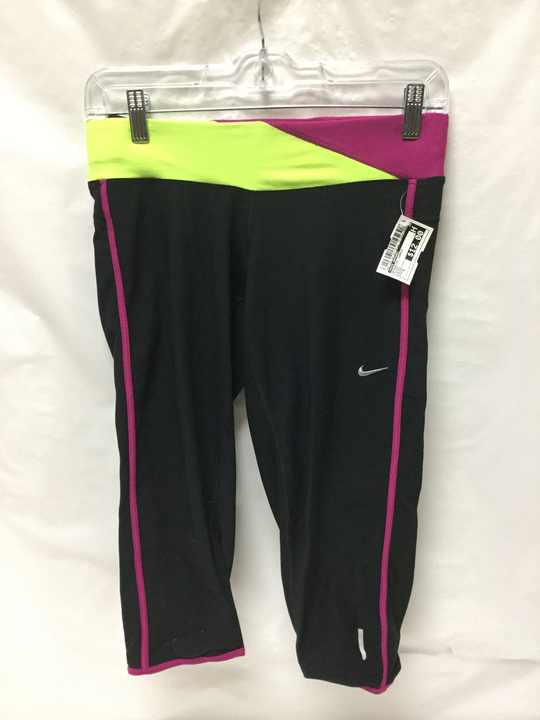Primary Photo - BRAND: NIKE APPAREL <BR>STYLE: ATHLETIC CAPRIS <BR>COLOR: BLACK MAGENTA NEON YELLOW <BR>SIZE: S <BR>OTHER INFO: NOTED <BR>SKU: 155-155130-207794