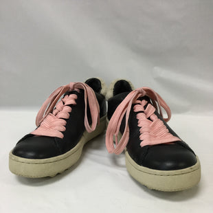 Primary Photo - BRAND: COACH STYLE: SHOES ATHLETIC COLOR: BLACK SIZE: 5.5 SKU: 155-155163-120290 BLACK LEATHER, FLEECE TRIM, PINK SHOELACESSOME HEEL DISCOLORATION NOTED
