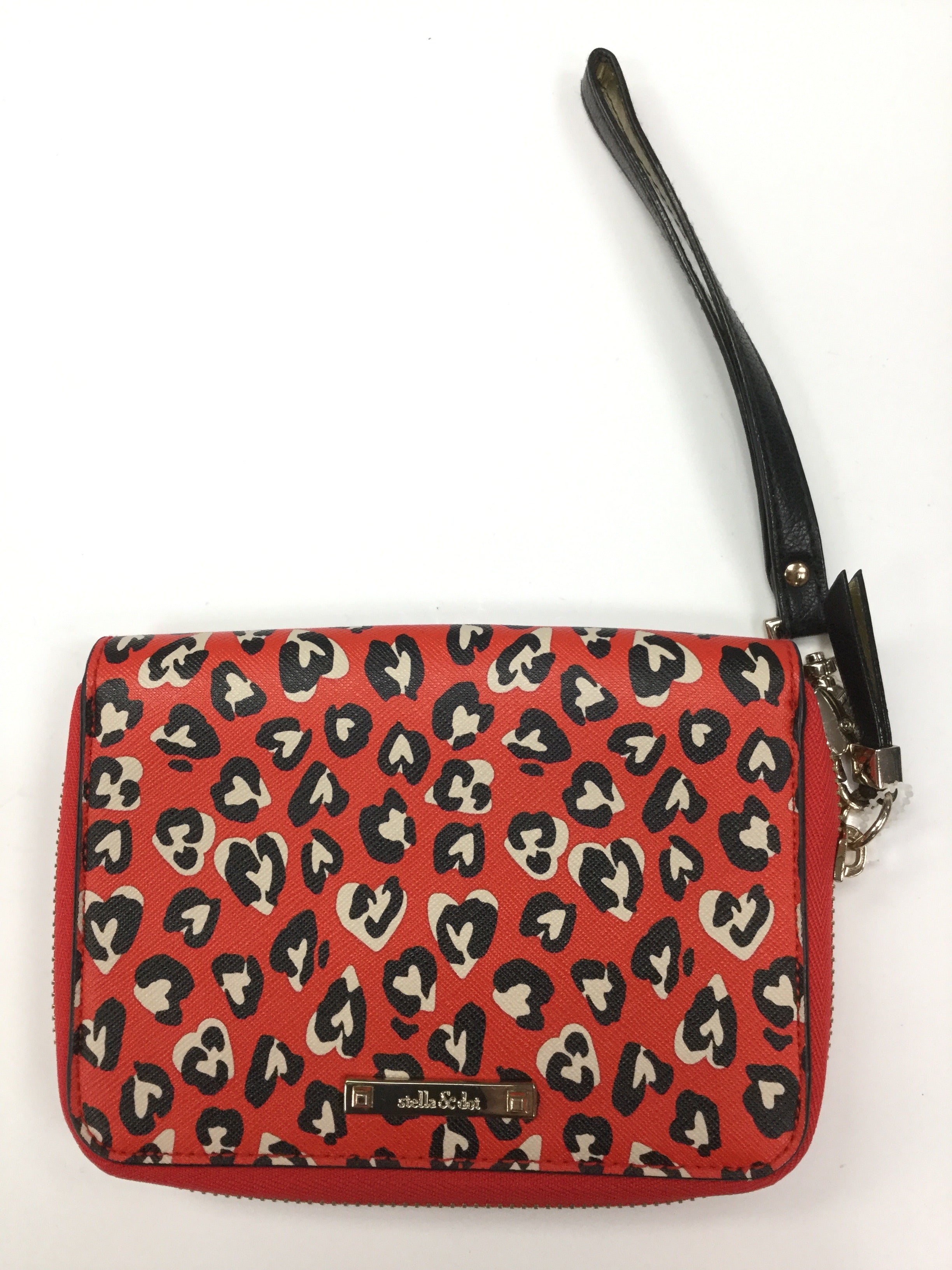 Primary Photo - BRAND: STELLA AND DOT <BR>STYLE: WRISTLET <BR>COLOR: HEART <BR>SIZE: MEDIUM <BR>SKU: 162-16299-25306<BR>RED, BLACK, BEIGE HEART PRINT