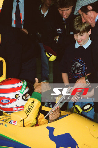 Prince William, Nelson Piquet, Jackie Stewart & Paul Stewart - 1991 British Grand Prix