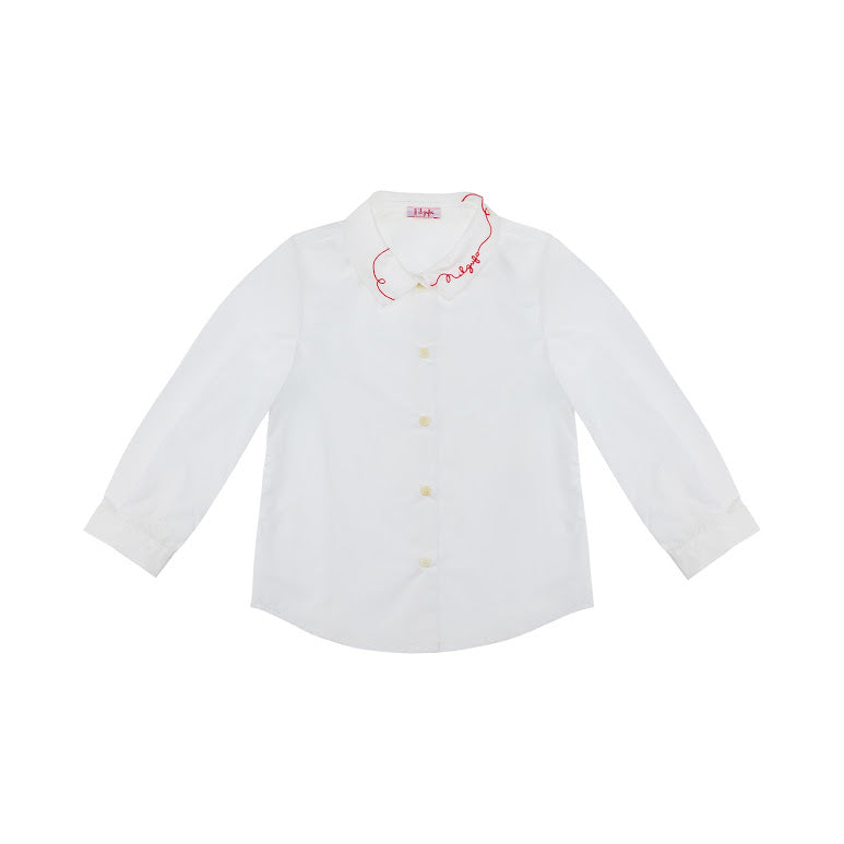 White Button Down Blouse with Red Stitch Detailing