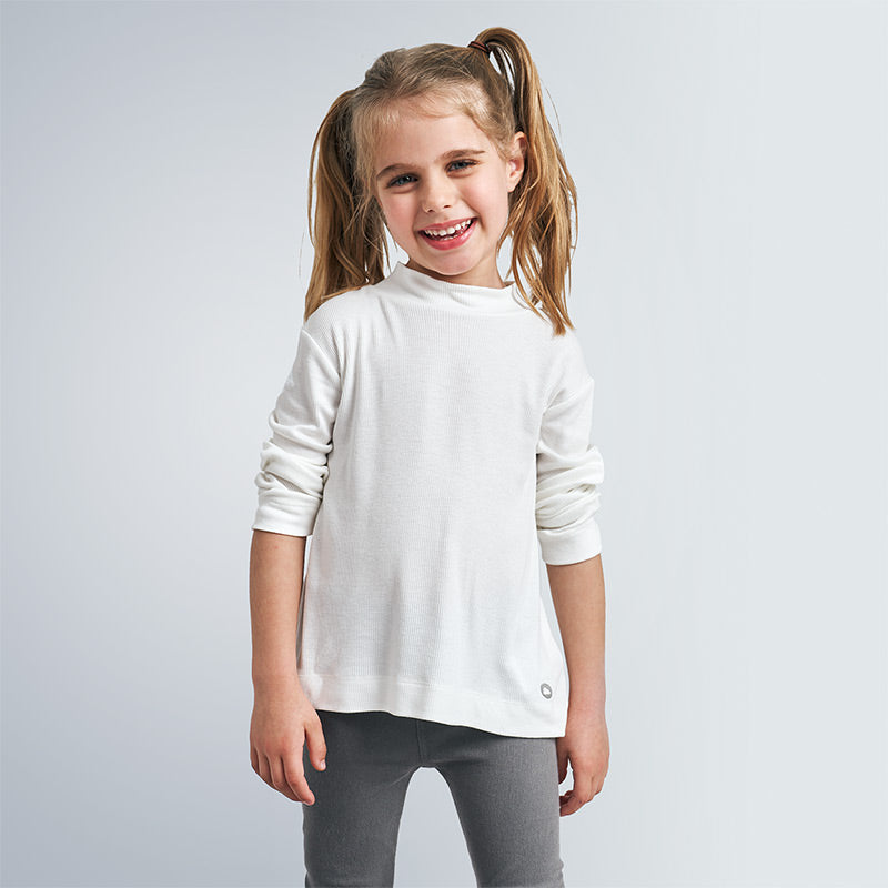White Long Sleeved High Neck T-shirt
