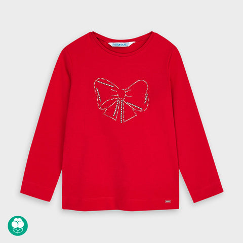 Red Long Sleeved Shirt with Bow