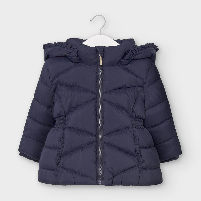Navy Puffer Jacket with Removable Hood