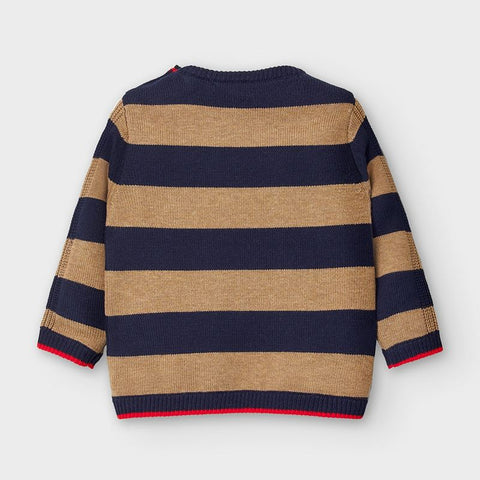 Navy and Beige Striped Knit Sweater