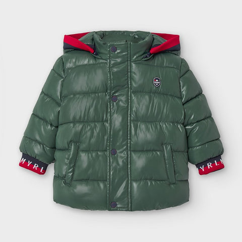Green Puffer Jacket with Removable Hood