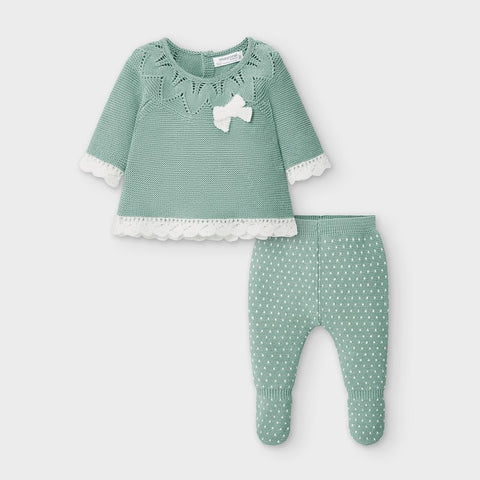 Green Scalloped Knit 2-Piece Set