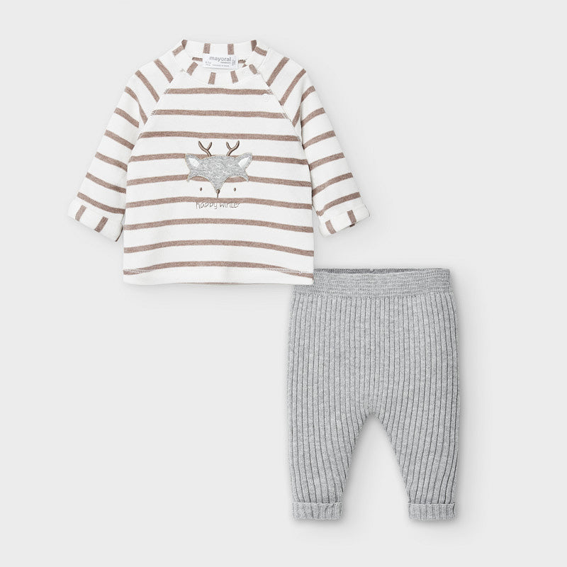 Beige Striped Deer 2-Piece Set
