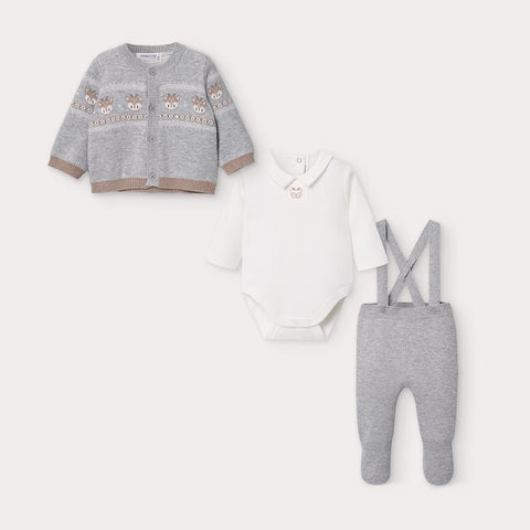 Grey Deer Fair Isle Knit 3-Piece Set