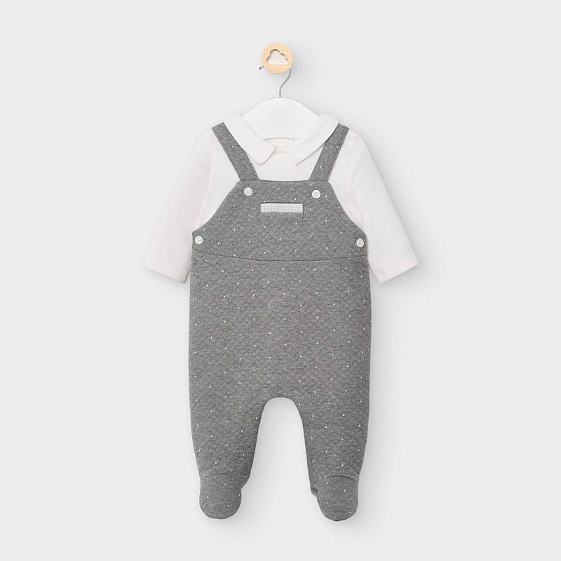 Grey Quilted Overall One-piece