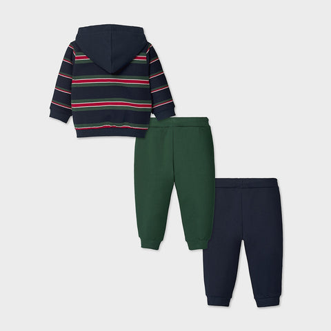Navy and Green 3-piece Tracksuit Set