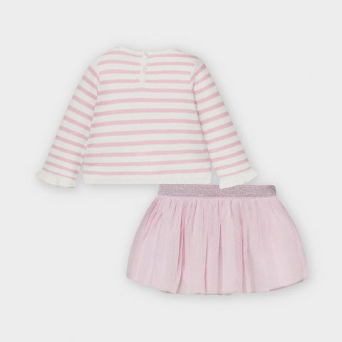Pink Sweater and Skirt 2-piece Set