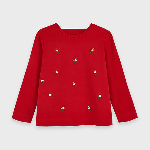 Red Embroidered Long Sleeved Shirt