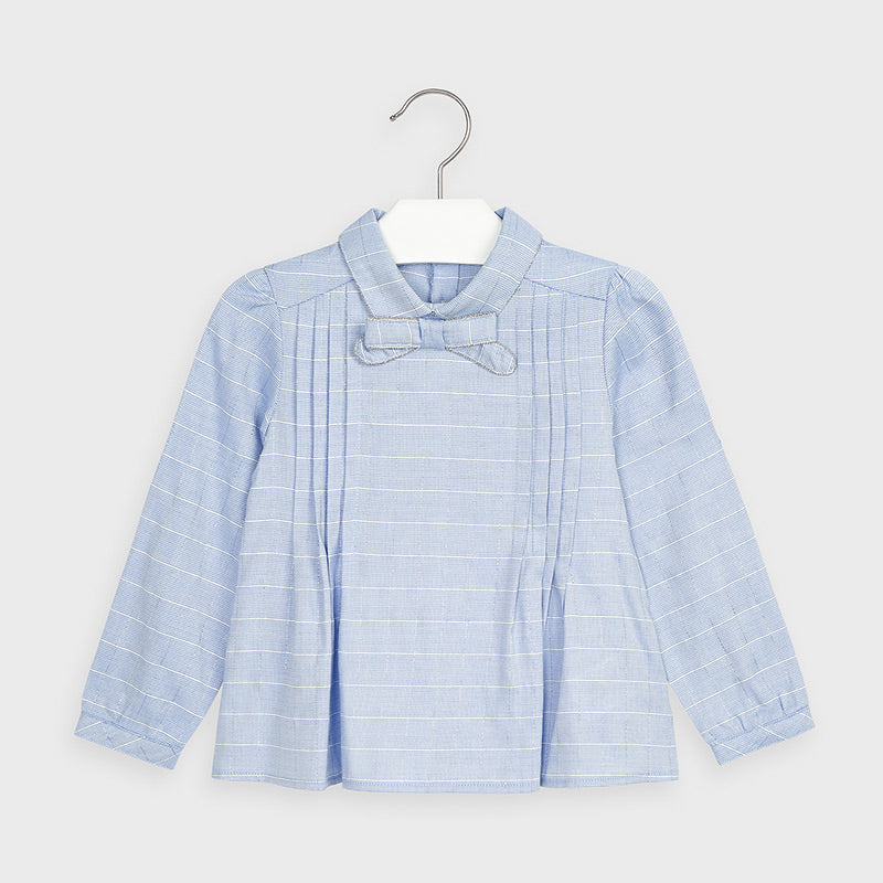 Blue Long Sleeved Bow Collared Blouse