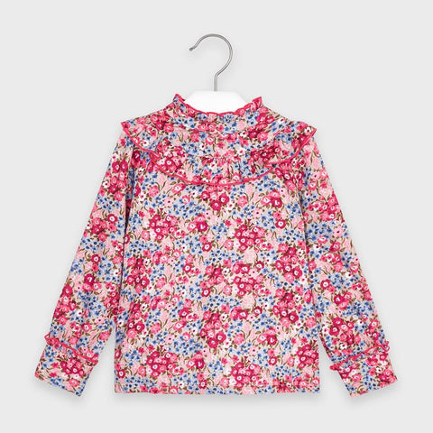 Floral Blouse with Ruffle Details