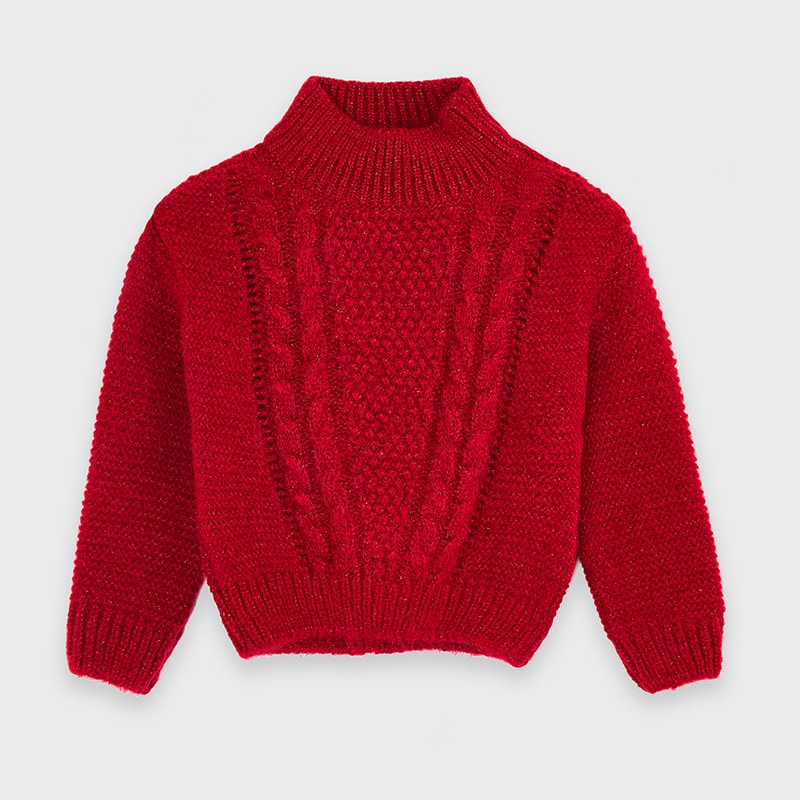 Red Shimmer Cable Knit Sweater