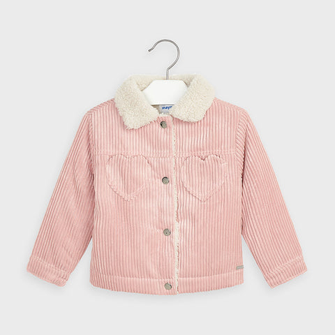 Pink Corduroy Jacket with Sherpa Collar