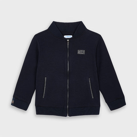 Navy Mock Neck Track Jacket
