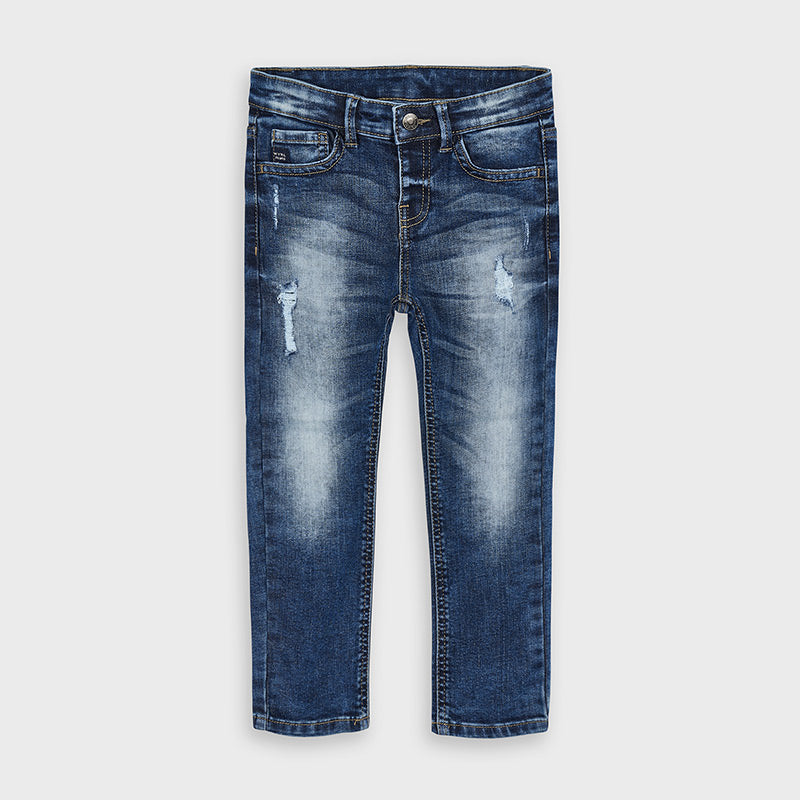 Loose Fit Denim Jeans with Distressing