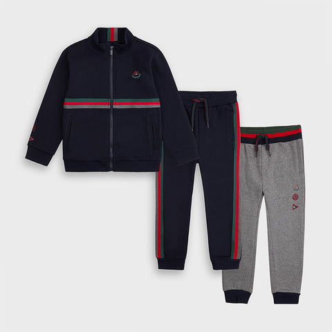 Navy and Grey 3-piece Tracksuit Set