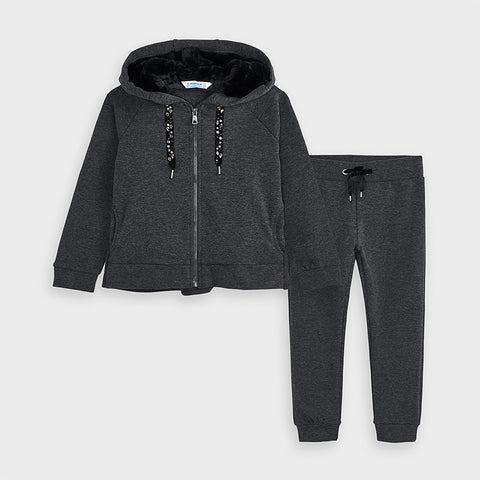 Charcoal Grey Tracksuit with Faux Fur Lined Hood