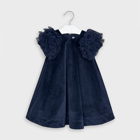 Navy Short Sleeved Velvet Party Dress