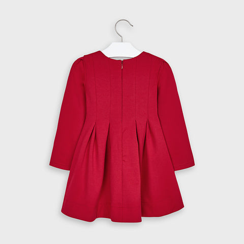 Red Pleated Dress with Ruffles