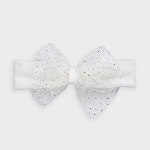 Cream Tulle Bow Headband