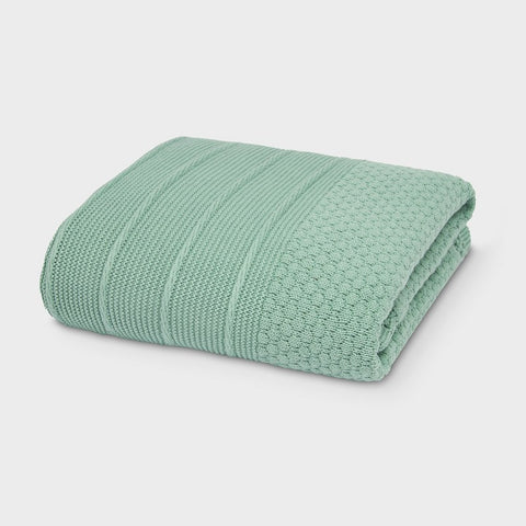 Green Knit Blanket with Faux Fur Lining