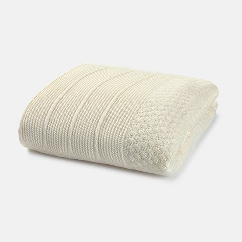 Cream Knit Blanket with Faux Fur Lining