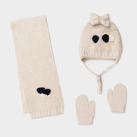 Cream Knit Floral Hat, Scarf and Mitten Set