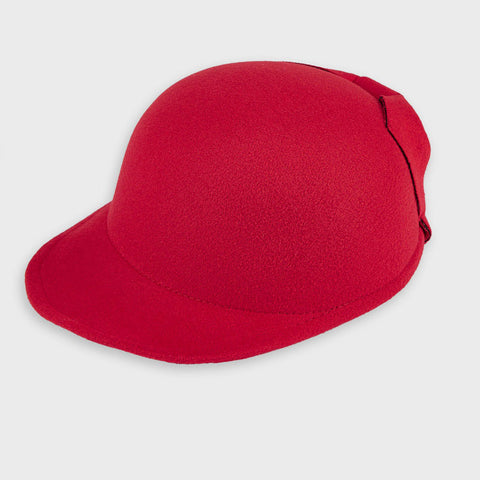 Red Cap with Decorative Bow Detail