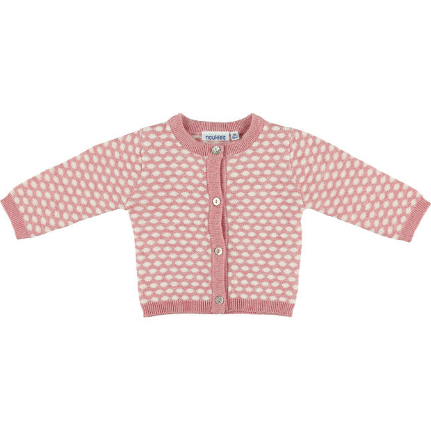 Pink and White Polka Dot Cardigan