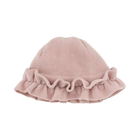 Pink Fleece Hat with Ruffle Detailing
