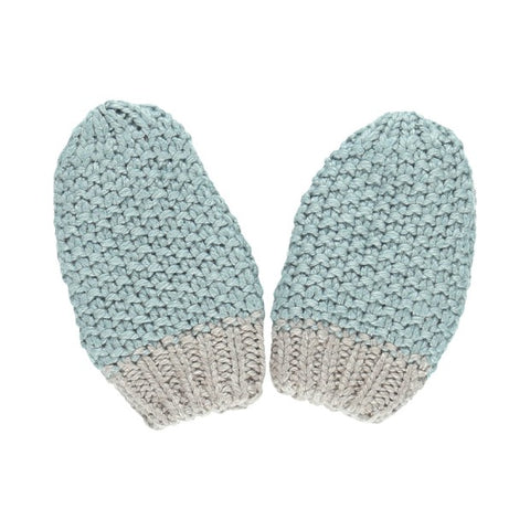 Soft green knit mittens