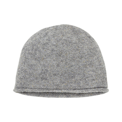 Grey Knit Hat with Gold Metallic Accents