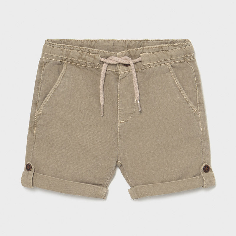 Beige Linen Shorts with Drawstring