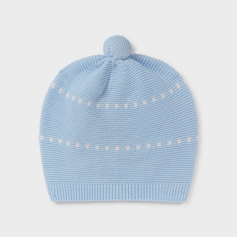 Blue Striped Hat with Pom Pom