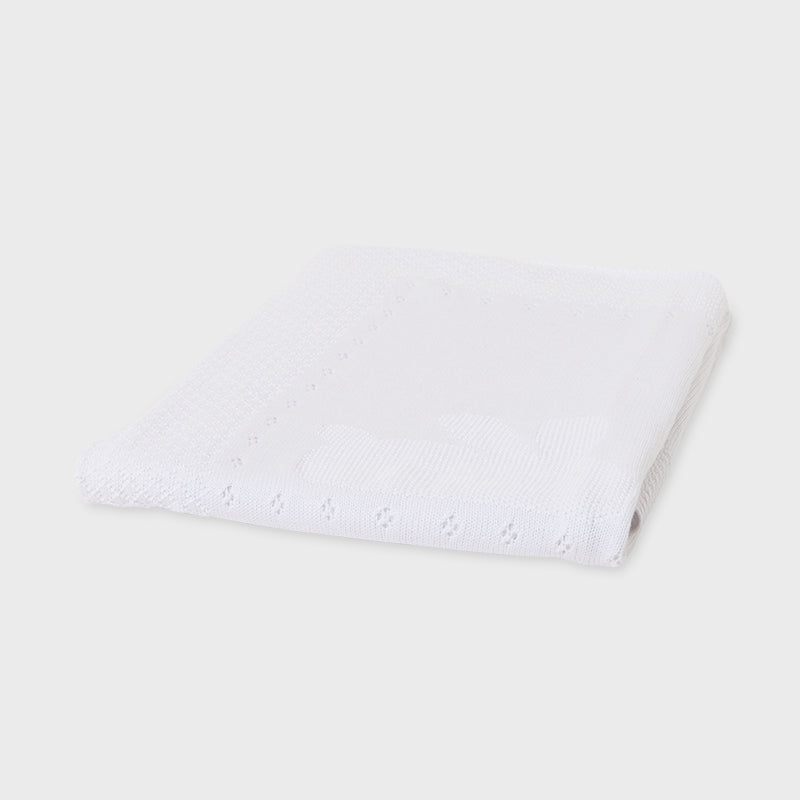 White Classic Knit Baby Blanket