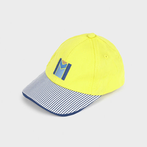 Lime Baseball Cap with Striped Brim