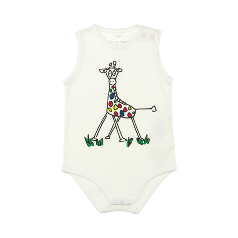 White Bodysuit with Colourful Giraffe Print