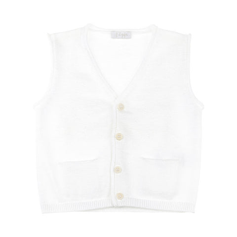 White Knit Vest with Front Pockets