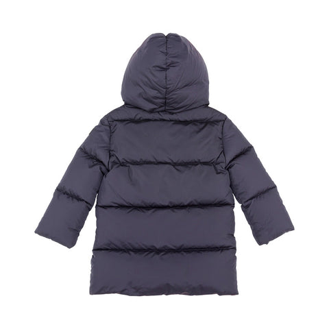 Navy Puffer Coat with Collar