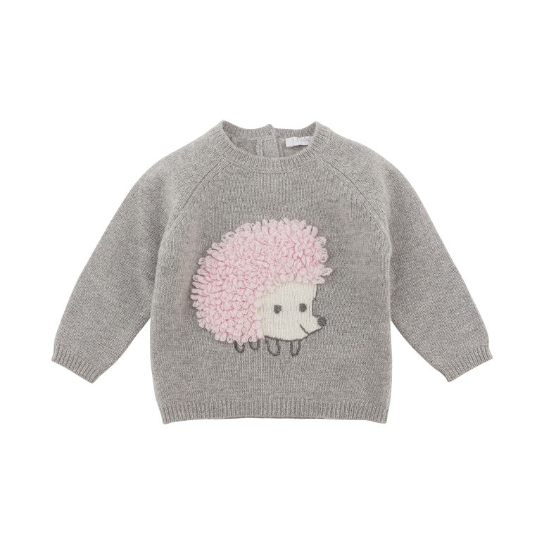 Grey Knit Sweater with Pink Embroidered Hedgehog